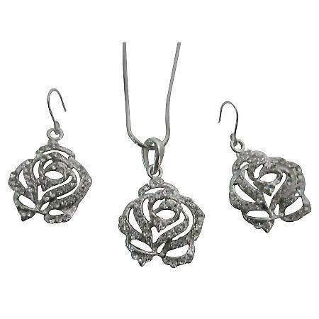 Lovely Clear Rhinestones Rose Pendant Earrings Set Buy Christmas Gift