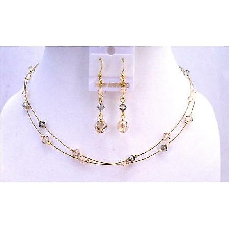 TriColor Crystals Golden Wire Round Necklace Golden Shadow Jewelry Set