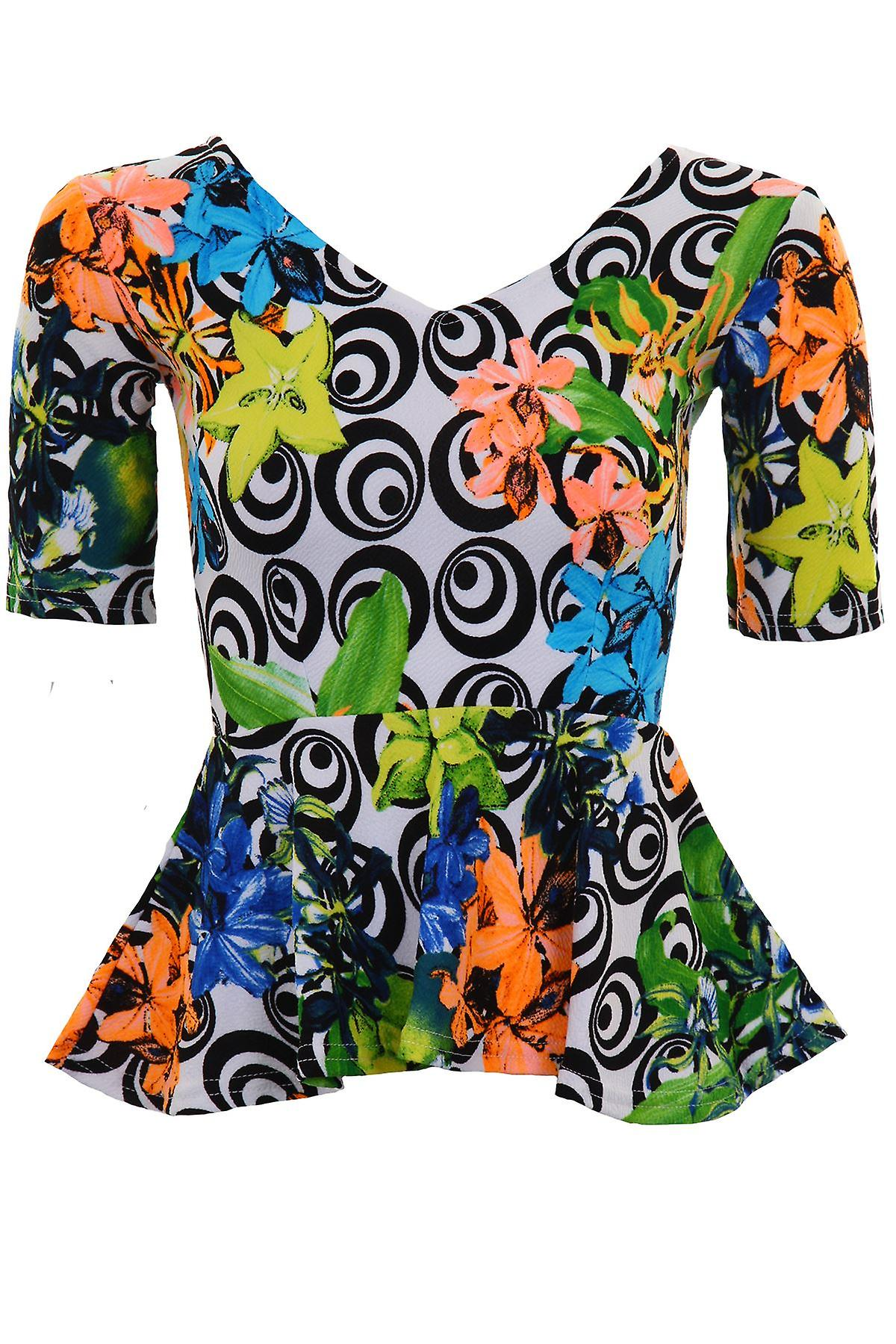 Ladies Short Sleeve V Neck Swirl Floral Print Women's Textured Peplum Frill Top