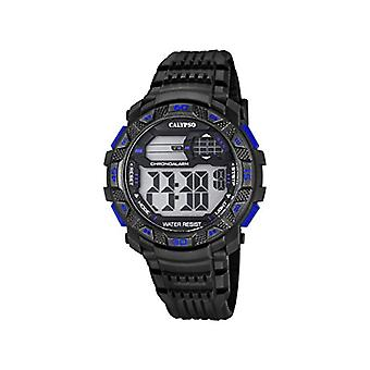 Calypso-digital wristwatch, with digital LCD Display and plastic strapping, color: black, 7 K5702