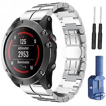 Double Row Rsf Steel Garmin Fenix 3/5 x/5 x Plus-Silver