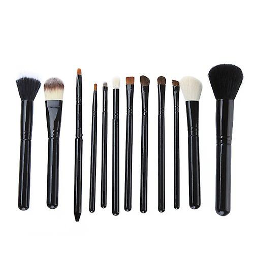 Black Leather 12 Make Up  Brushes Cup Set - Goat /Pony /Synthetic Hair Aluminium Ferrule Natural Wood Handle