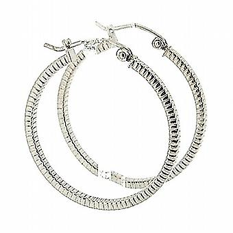 TOC Sterling Silver Ribbed Creole Hoop Earrings 26mm