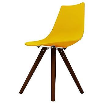 Chaise de salle à manger en plastique jaune iconique de fusion vivante avec des jambes en bois foncé