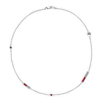 University of New Mexico-Lobos logo graverade ruby 5-Station halsband i rött och grått