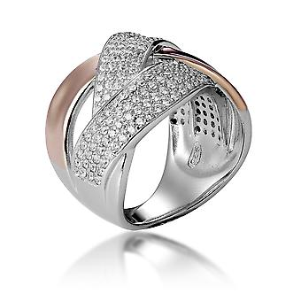 Orphelia Silver 925 Ring Bicolor Rose White Crossing Lines With Zirconium ZR-7445