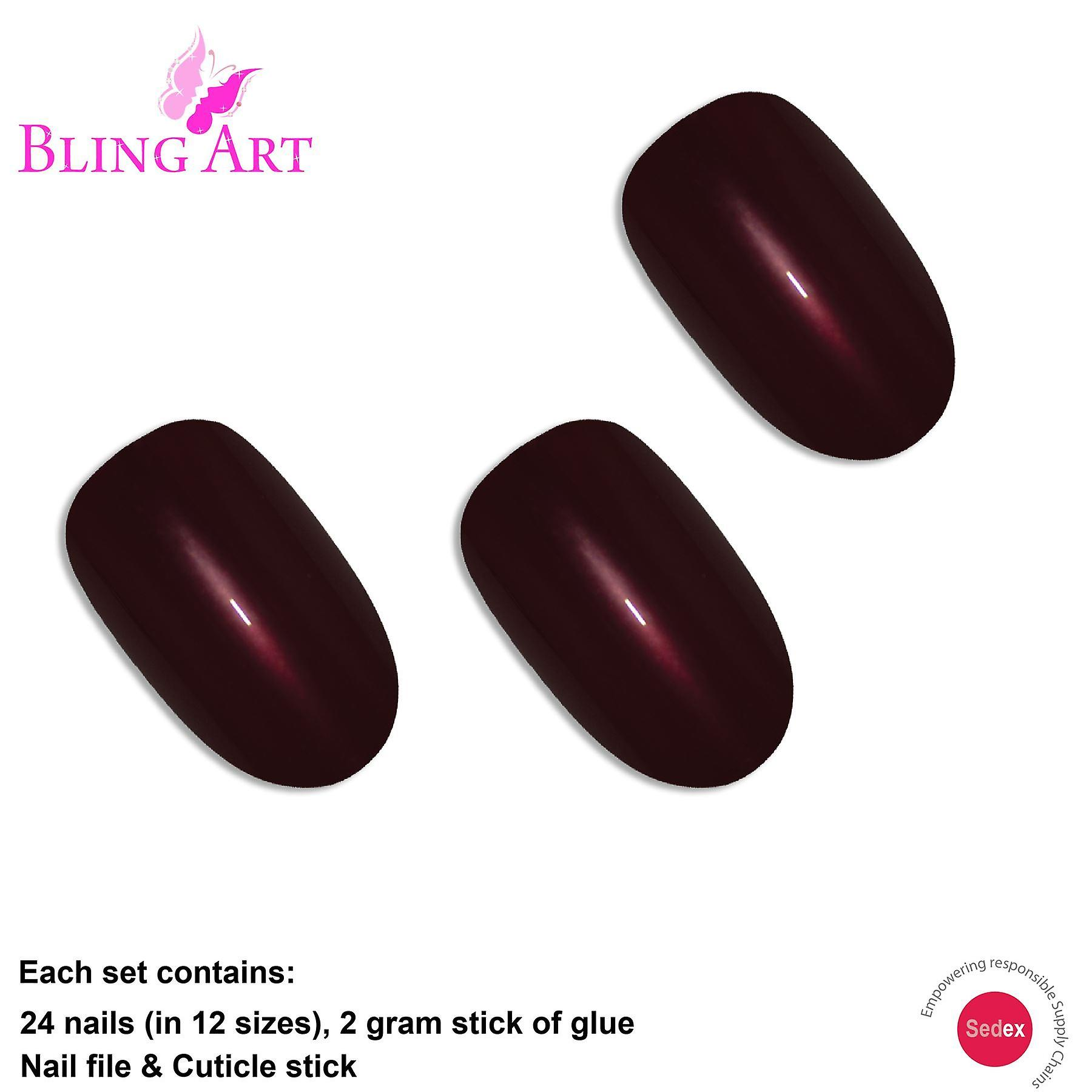 False nails by bling art brown glitter oval medium fake acrylic 24  tips with glue
