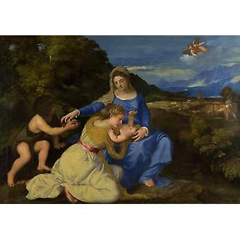 Jomfru og barn med Saint John the Baptist, Titian, 60x40cm