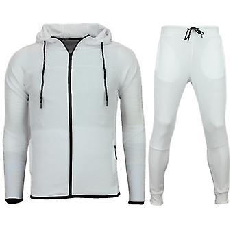 Slim Fit Joggingpak Heren - Trainingspakken Mannen Basic- F552 - Wit