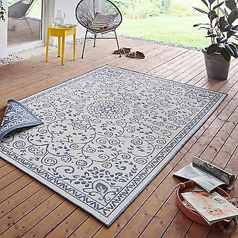 In& amp;amp; Outdoor Reversible Carpet Leyte Blue Cream