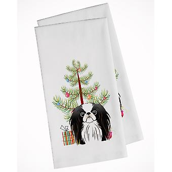 Christmas Tree and Japanese Chin White Kitchen Towel Set of 2
