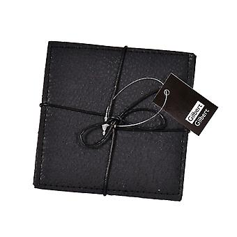 Glass coasters Black Leather look 4-pack
