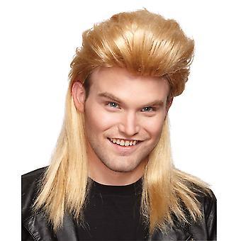 ليلى البوري شقراء الثمانينات المتخلف المتخلف المهملات الأبيض Bogan زي رجالي شعر مستعار
