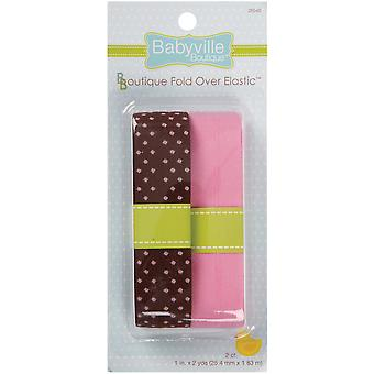 Babyville Boutique Fold Over Elastic Brown with Dots & Solid Pink 3.50E 38