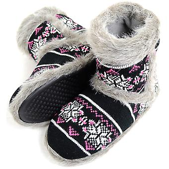 Ladies / Womens Knitted Style Slipper Boot / Booties with Faux Fur Trim - Black - Small (UK3 / UK4)