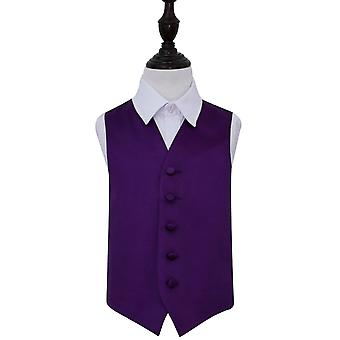 Boy's Purple Plain Satin Wedding Waistcoat