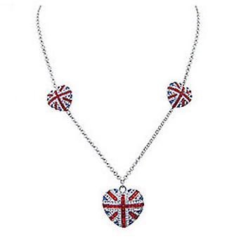 Butler & Wilson Three Union Jack Hearts Necklace