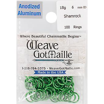 Anodized Aluminum Jumprings 6mm 100/Pkg-Green HPAA18A6-SHAM