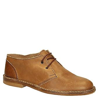 Tan calf leather men's casual lace-up shoes handmade