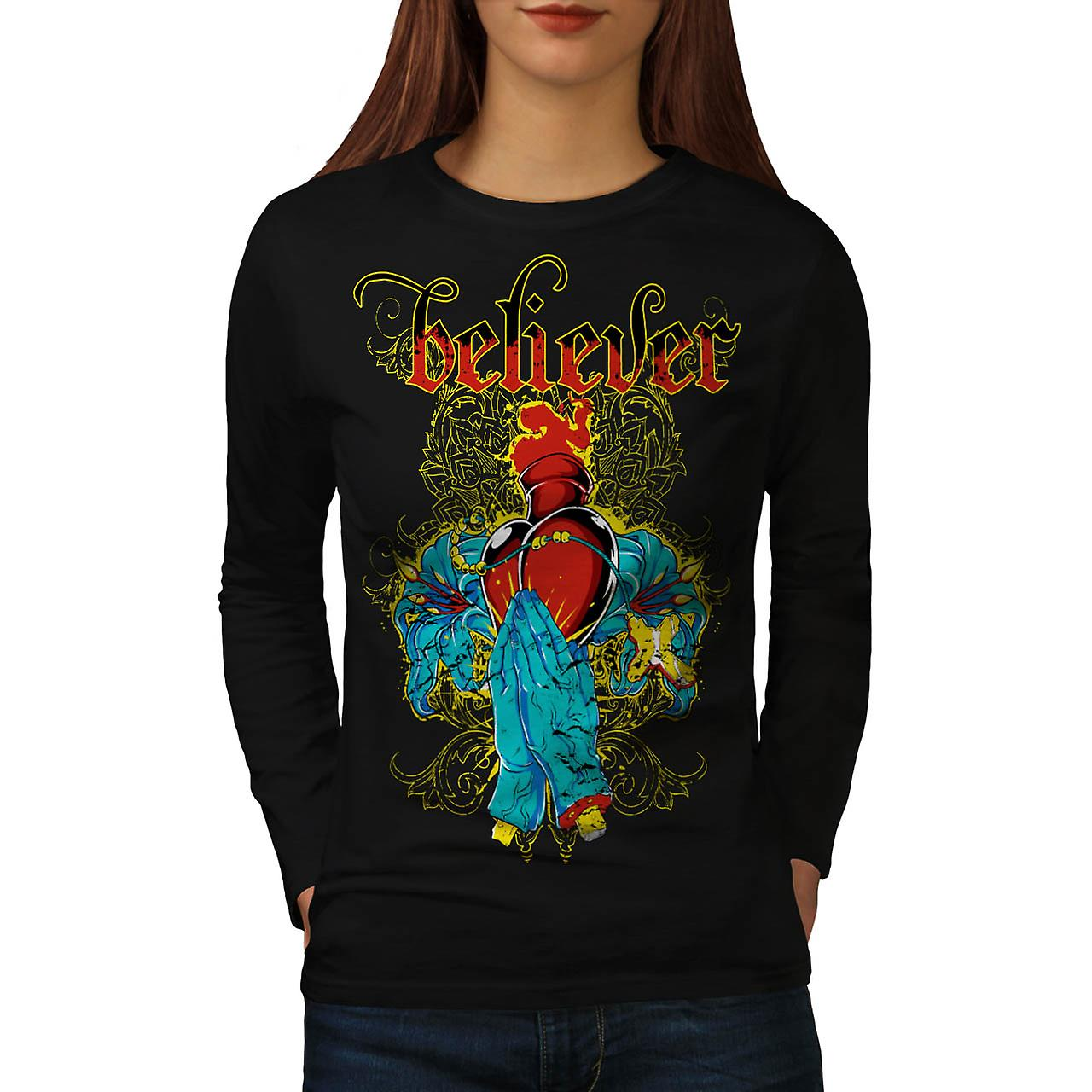 Believer Vintage Fashion Women Black Long Sleeve T-shirt | Wellcoda