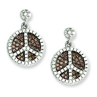 Sterling Silver and Cubic Zirconia Brilliant Embers Peace Sign Dangle Post Earrings