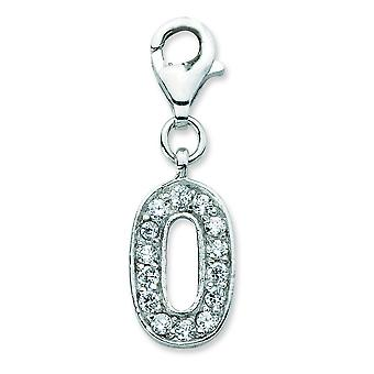 Sterling Silver CZ Numeral 0 With Lobster Clasp Charm - Measures 26x8mm