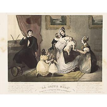 The Good Mother French Engraving Litography Spain Madrid National Library  AisaEverett Collection Poster Print
