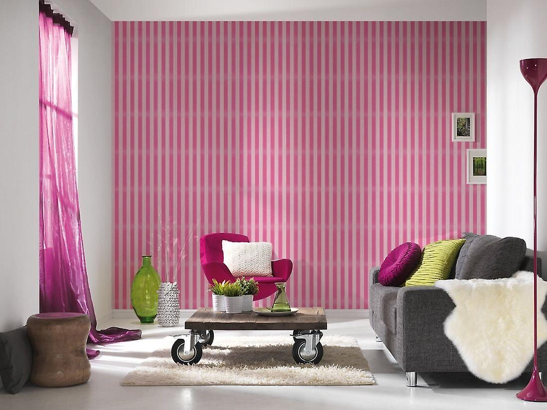 Stripe Wallpaper Stripey Striped Glitter Sparkle Embossed Pink White AS Creation