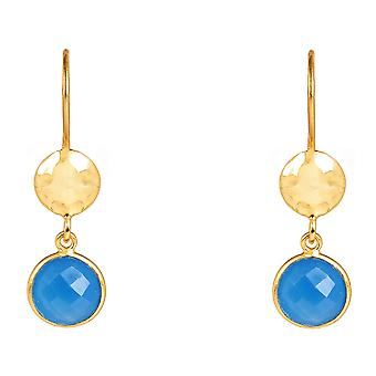 Circle & Hammer Earring Gold Dark Blue Chalcedony