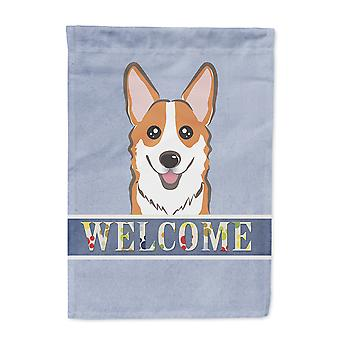 Carolines Treasures  BB1440CHF Red Corgi Welcome Flag Canvas House Size