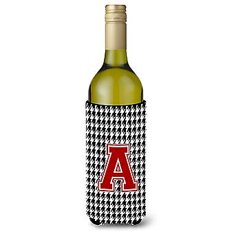 Monogram - Houndstooth  Initial  A Wine Bottle Beverage Insulator Beverage Insul