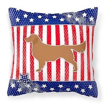 USA Patriotic Golden Retriever Fabric Decorative Pillow