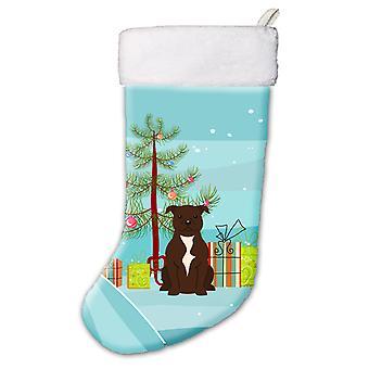 Merry Christmas Tree Staffordshire Bull Terrier Chocolate Christmas Stocking