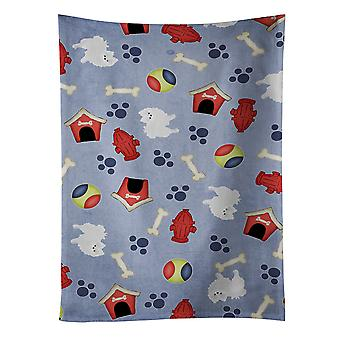 Dog House Collection White Pomeranian Kitchen Towel