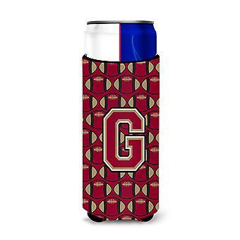Letter G Football Garnet and Gold Ultra Beverage Insulators for slim cans