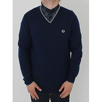 Fred Perry Merino Tipped V-Neck Knit - Granite
