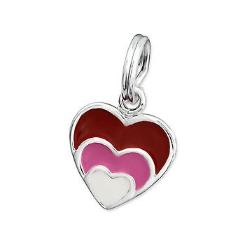 Heart - 925 Sterling Silver + Epoxy Colour Charms with Split ring