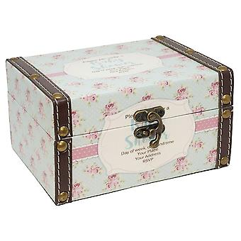 Vintage Style Blue and Pink Floral 'New Baby' Keepsake Box