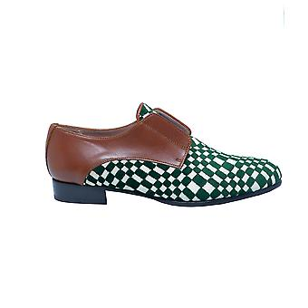 Quoque ladies M10103 green leather lace-up shoes