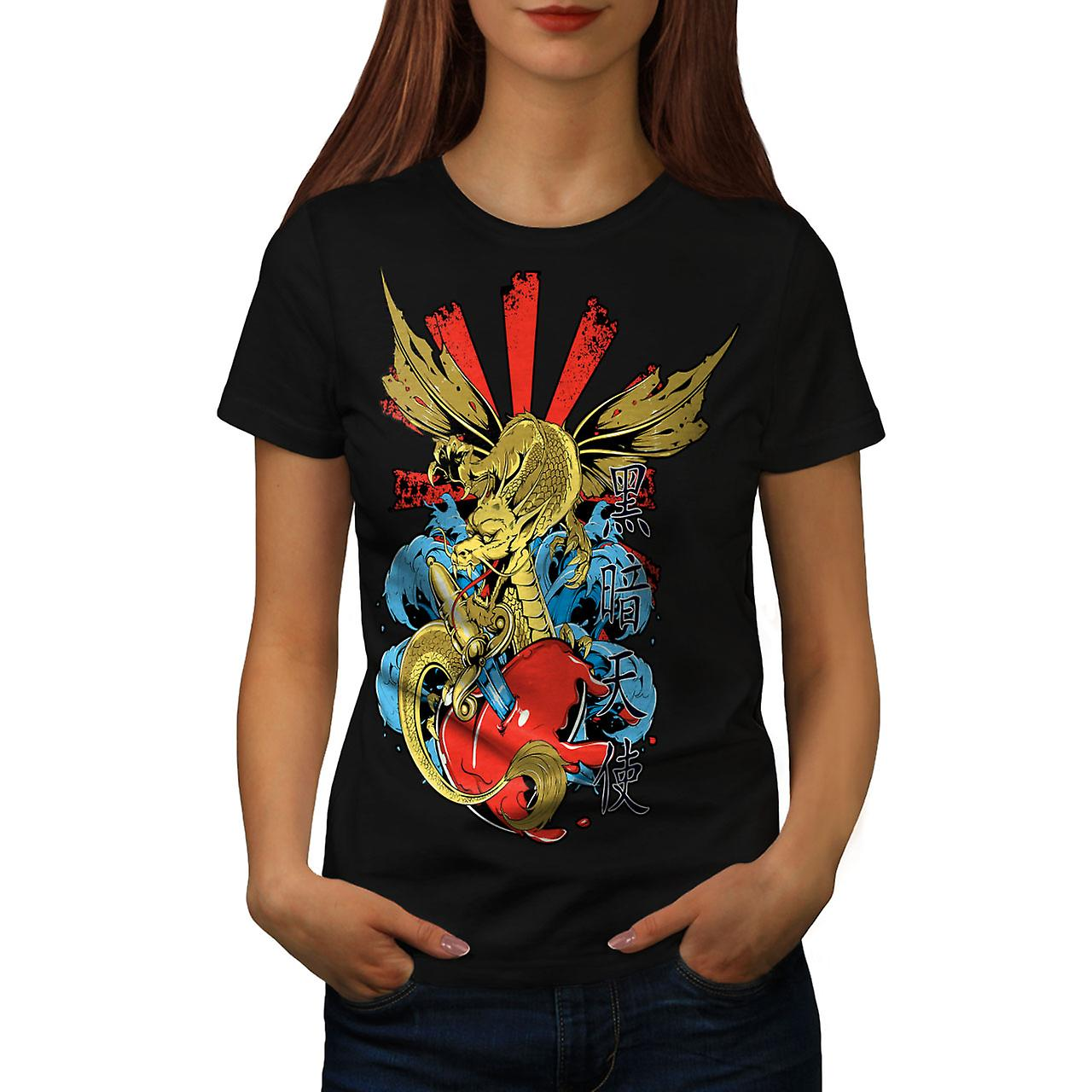 Japanese Skull Fantasy Women Black T-shirt | Wellcoda