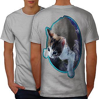 Kitten In Space Cute Cat Men GreyT-shirt Back | Wellcoda