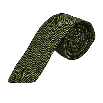 Pickle Green & Black Herringbone Tie