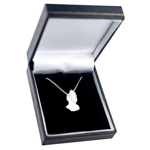 Silver 25x13mm Praying Hands Pendant with a rolo Chain 18 inches