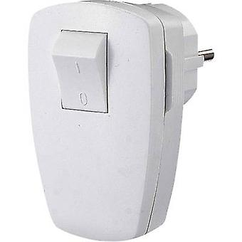 Safety L-shape mains plug Plastic + switch 230 V White