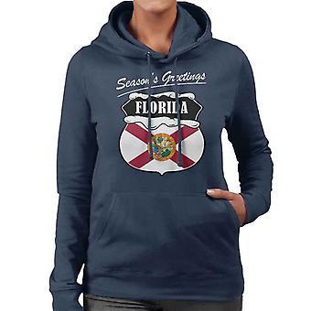 Sesonger hilsener Florida State flagg Christmas kvinners Hettegenser