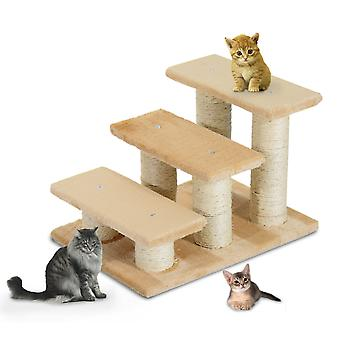 PawHut Pet Steps Portable Cat Dog Little Older Animal Easy Climb Stairs Assistance Cream