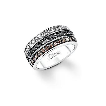 s.Oliver jewel white ladies ring silver zirconia SO838 Black Brown
