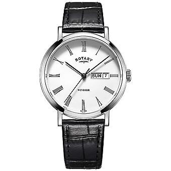 Rotary Mens Ultra Slim Black Leather Strap GS05300/01 Watch