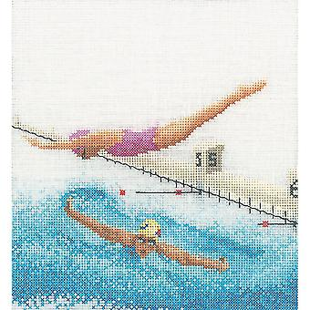 Swimming On Linen Counted Cross Stitch Kit-6.25