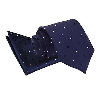 Marinblå Pin Dot slips & Pocket Square Set